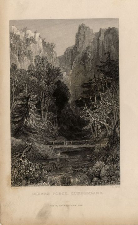 1835 Antique Print BIRKER FORCE Waterfall CUMBERLAND Lake District CUMBRIA Original Georgian Engr.
